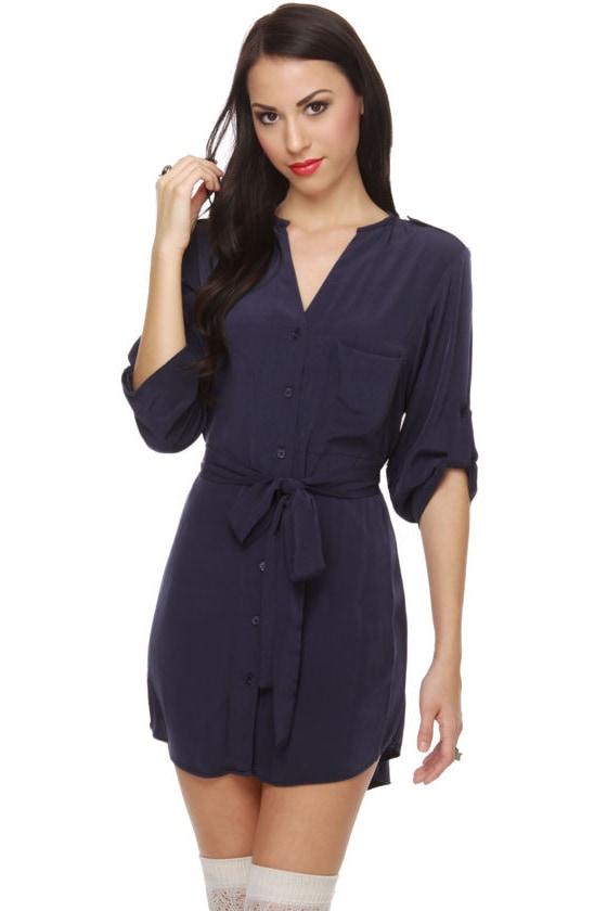 Collective Concepts Sleet Street Navy Blue Shirt Dress