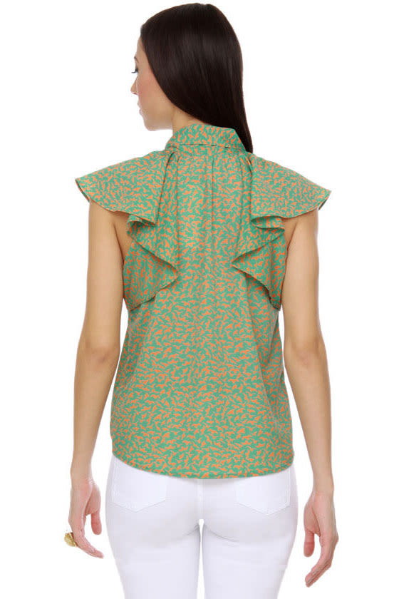 Collective Concepts All Atwitter Teal Print Top