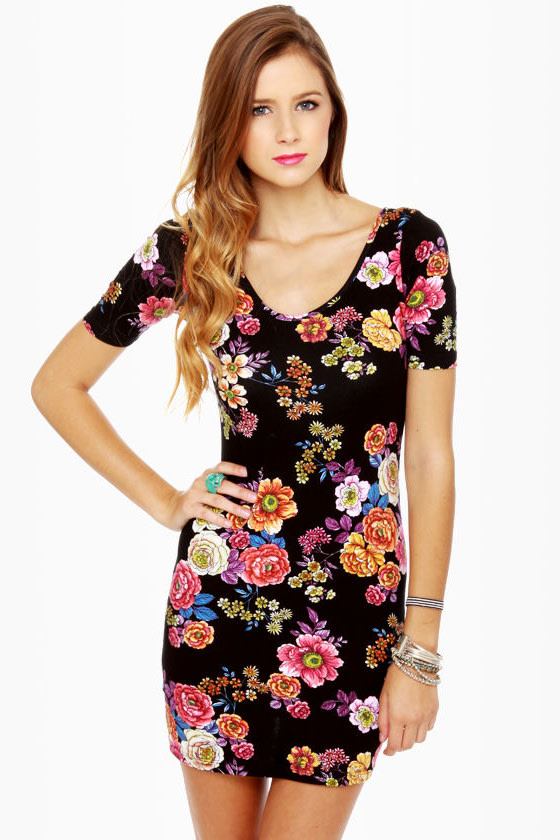 Radiant Roses Black Floral Print Dress