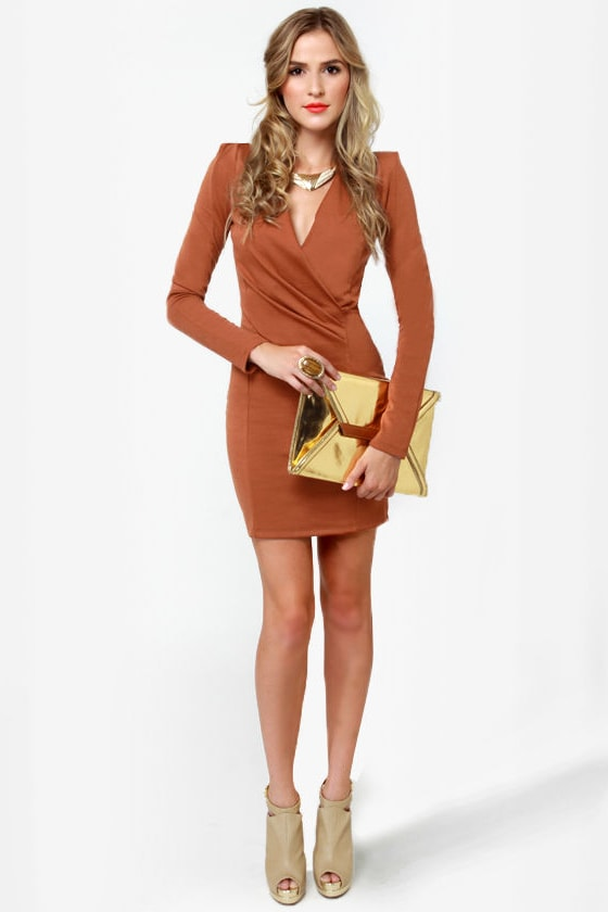 Foreign Film Cinnamon Brown Dress at Lulus.com!