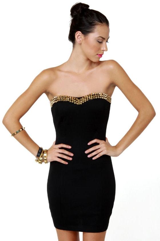 031123559d8 Sexy Strapless Dress - Black Dress - Studded Dress -  33.00