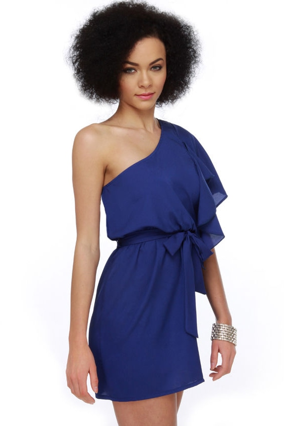 Cute and Kissable One Shoulder Blue Dress