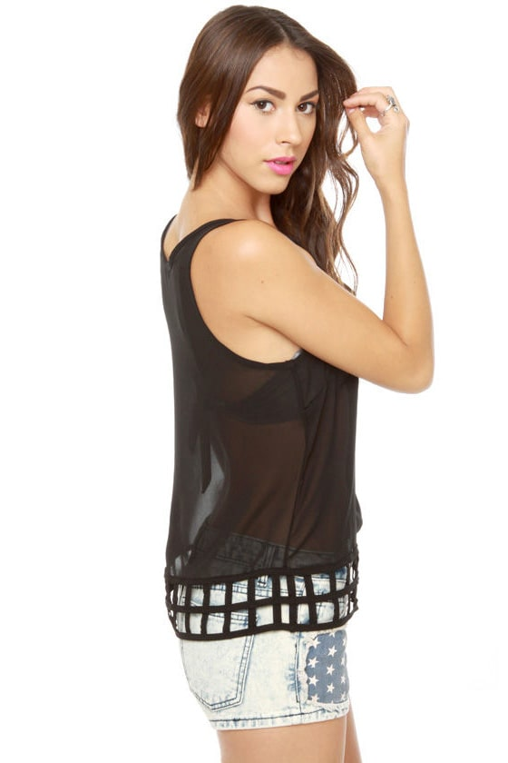 Lattice Entertain You Sheer Black Tank Top at Lulus.com!