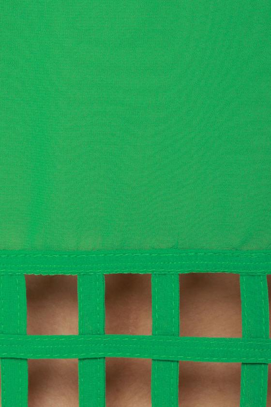 Lattice Entertain You Sheer Green Tank Top