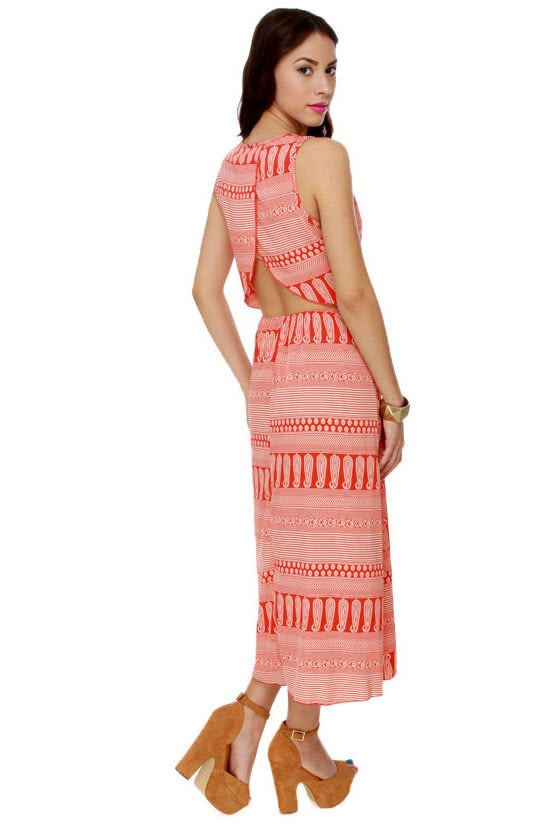 Firestarter Orange Print Maxi Dress