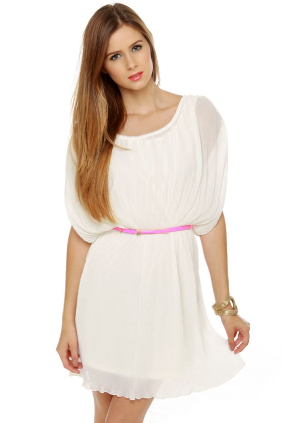 Like the Wind Pleated White Dress