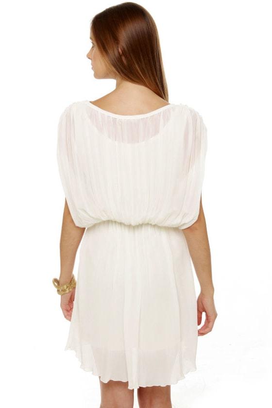 Like the Wind Pleated White Dress