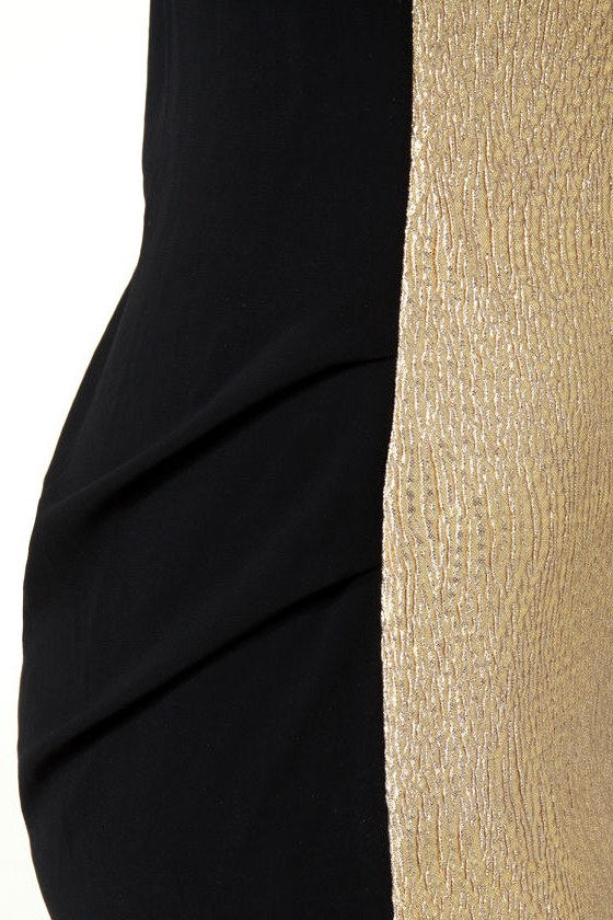 Hot Prospect-or Black and Gold Dress at Lulus.com!