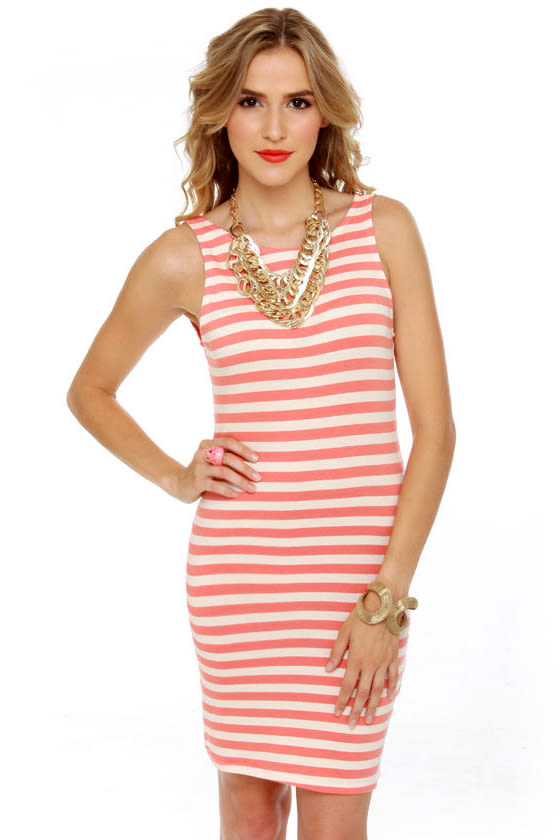Stripe Back at Ya Coral and Ivory Striped Dress at Lulus.com!