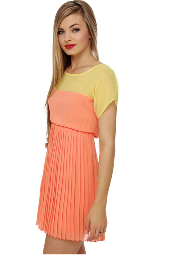 Sorbet Course Yellow and Peach Dress