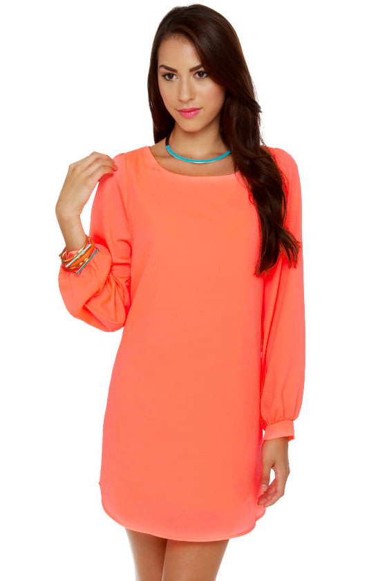 e792ad283b0 Cute Neon Coral Dress - Shift Dress - Long Sleeve Dress -  43.00