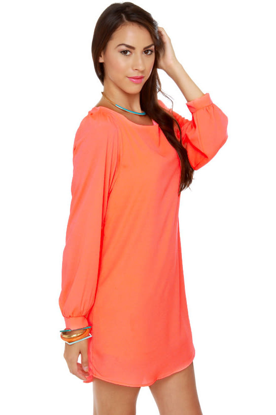 Cute Neon Coral Dress - Shift Dress - Long Sleeve Dress - $43.00