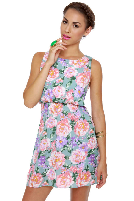 Chrysanthemum's the Word Floral Print Dress