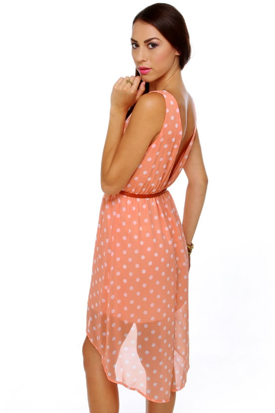 Southern Hospitality Peach Polka Dot Dress at Lulus.com!