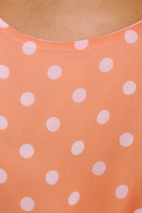 Southern Hospitality Peach Polka Dot Dress