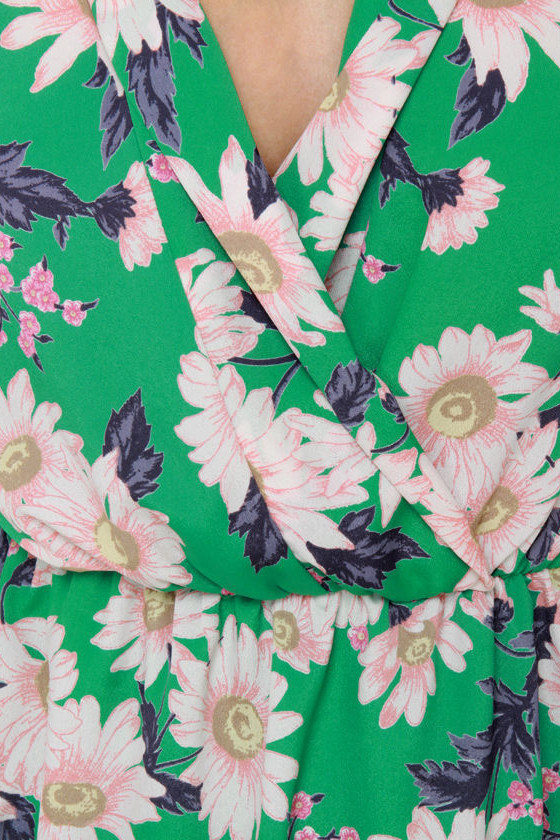 Coming Up Daisies Green Floral Print Dress