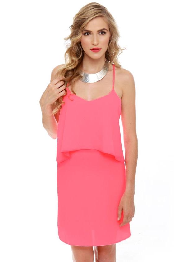 Easy Street Neon Pink Dress