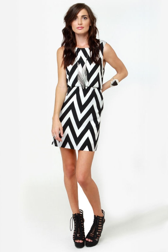 Printing Press Black and Ivory Striped Dress
