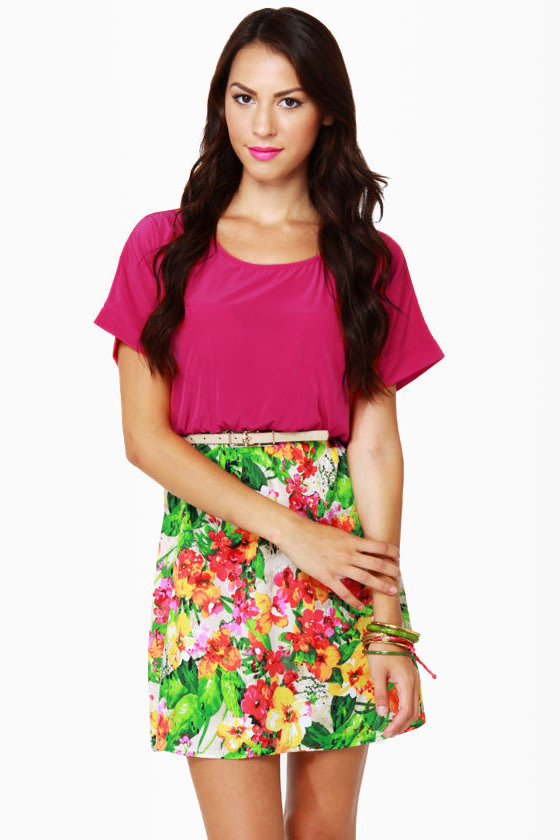 Peek-a-Bouquet Fuchsia and Floral Dress at Lulus.com!