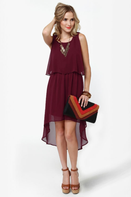 Tier-ing Up Burgundy Dress at Lulus.com!