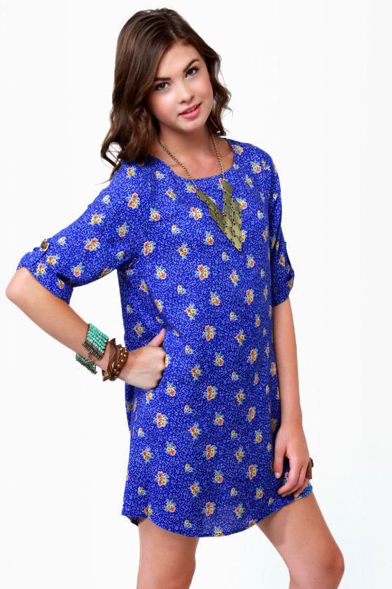 Freshly Picked Blue Floral Print Shift Dress
