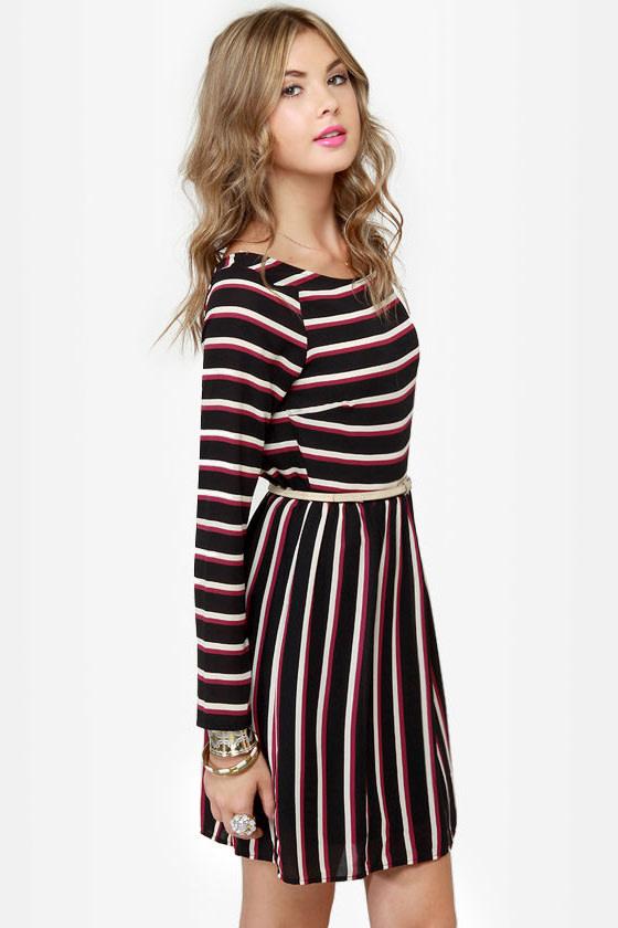First In Line Black Striped Dress