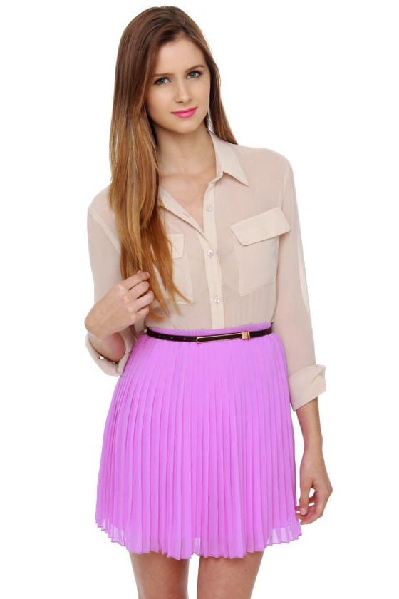 Cute Lavender Skirt - Mini Skirt - Pleated Skirt - $39.00
