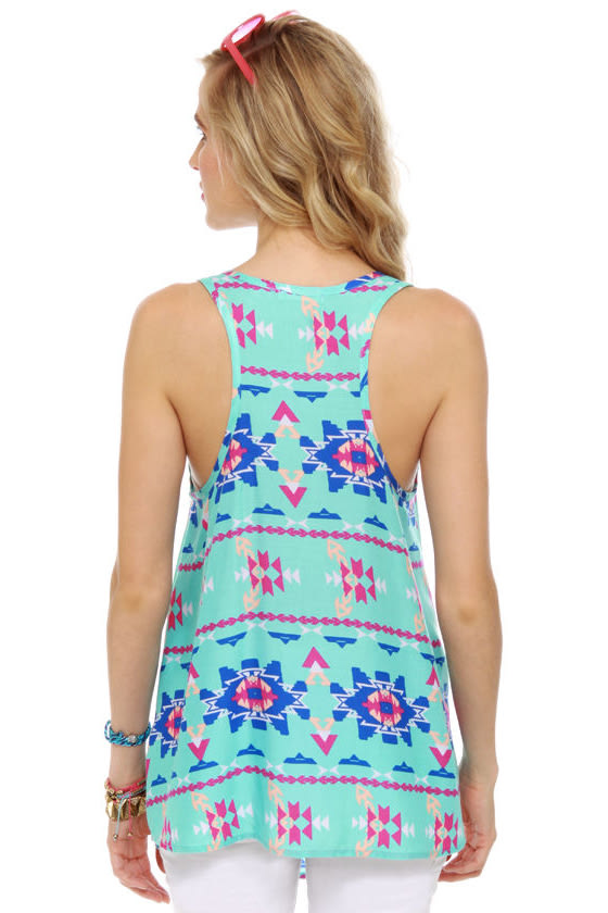 Sky's the Limit Turquoise Print Tunic Top