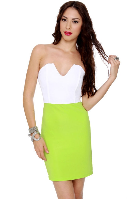 Dynamo Strapless White and Neon Green Dress