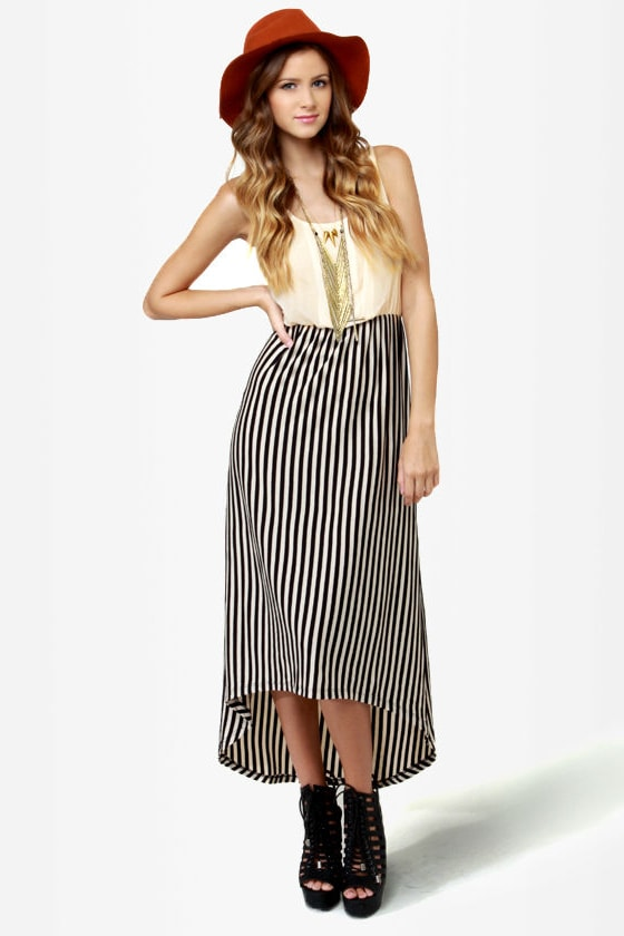 Belle Epoque Cream and Black Striped Dress at Lulus.com!