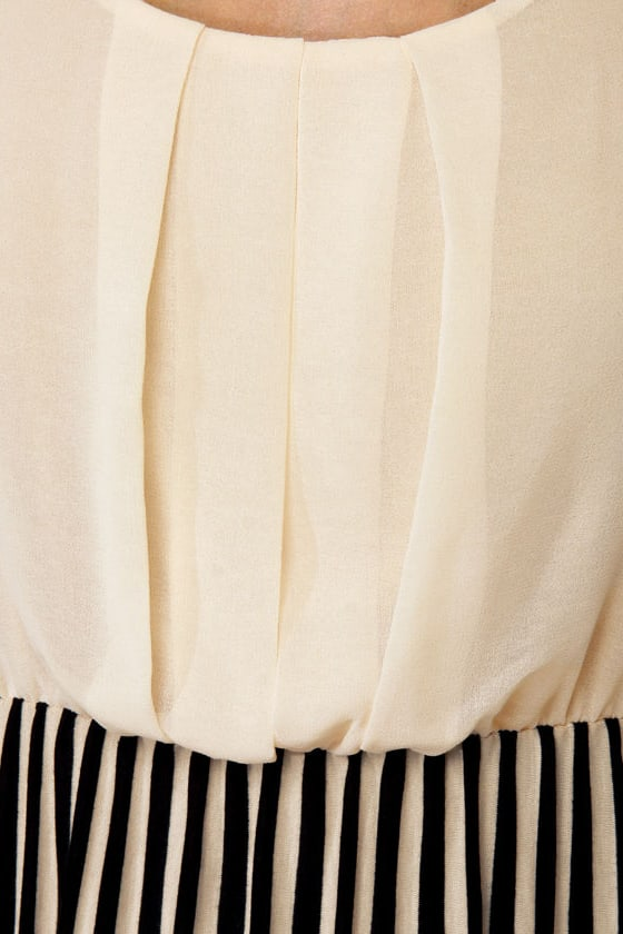 Belle Epoque Cream and Black Striped Dress