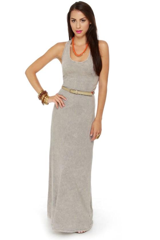 Concrete Jungle Washed Grey Maxi Dress