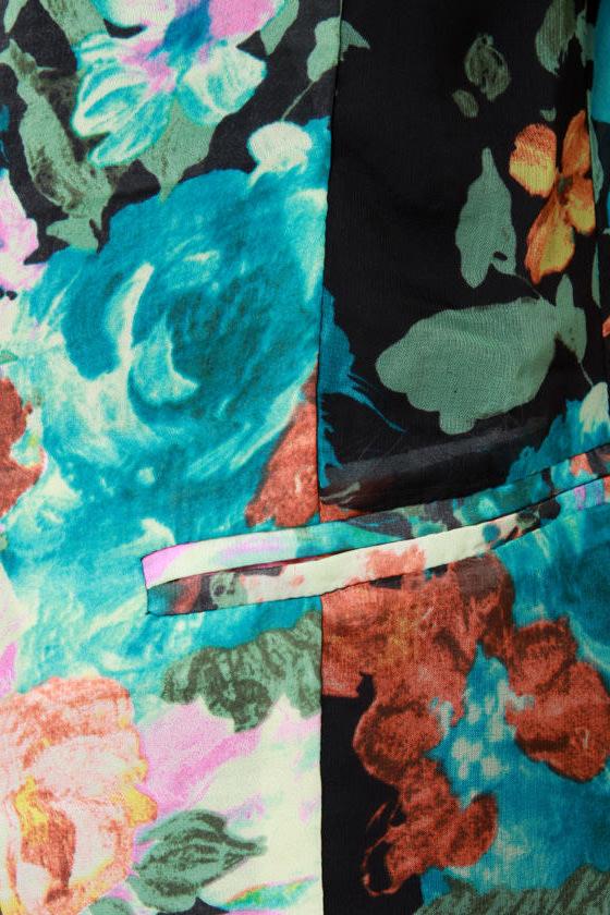 Gypsy Junkies Zeppelin Floral Print Blazer