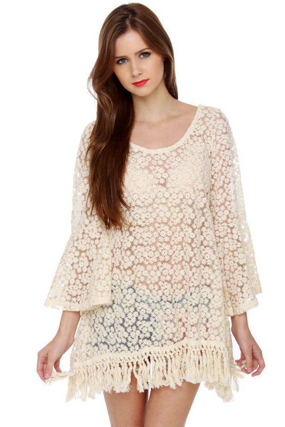 Gypsy Junkies Mimi Daisy Sheer Cream Tunic at Lulus.com!