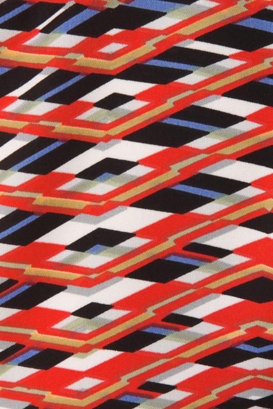 Sheer Geometry Printed Red Dress