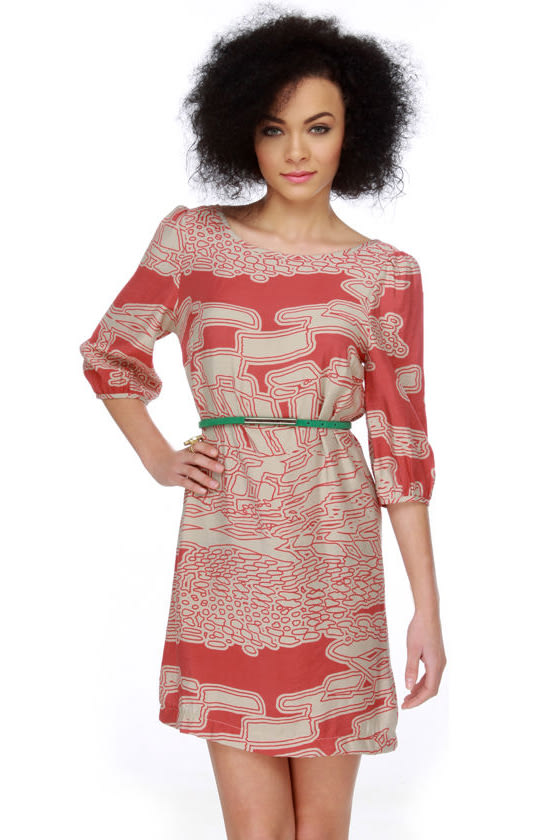 Love You to Pieces Red Print Dress