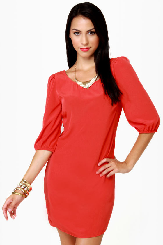 Cute Red Dress - Shift Dress - Short Sleeve Dress - $34.00
