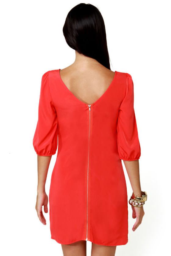 In My Prime-ary Coral Red Shift Dress at Lulus.com!