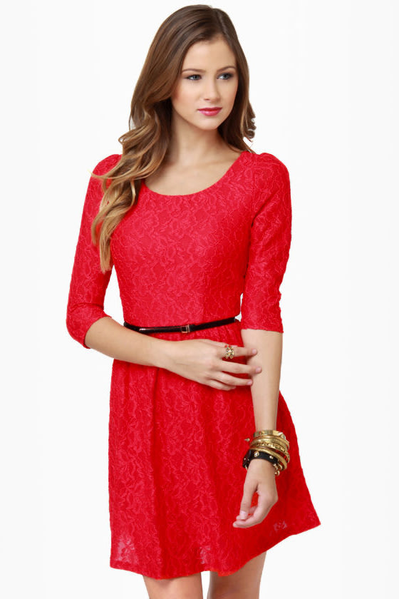 Pretty Lace Dress - Red Dress - Fit and Flare Dress - $48.00
