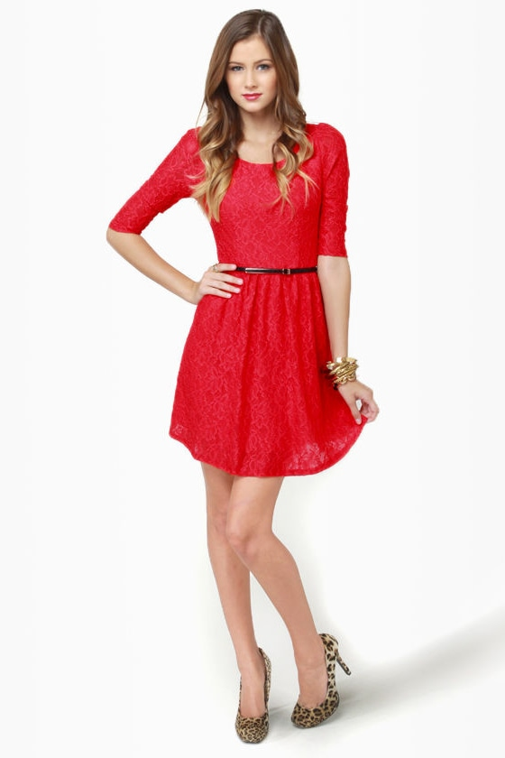 Hot Tama-Lace Red Lace Dress
