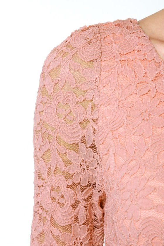 Just Peachy Dusty Peach Lace Dress
