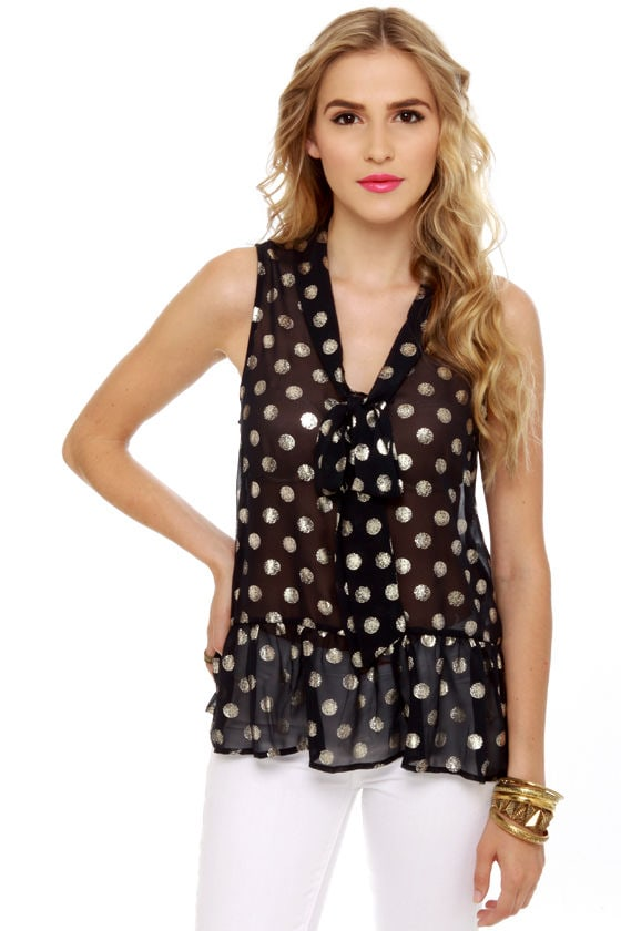 Dot-tle Rocket Navy Blue Polka Dot Top