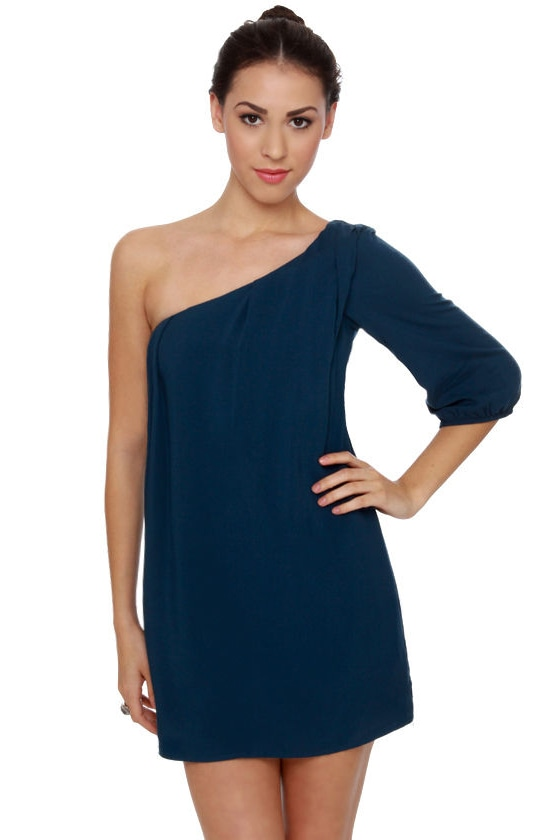 Gorgeous Navy Blue Dress - Dark Blue Dress - One Shoulder Dress ...