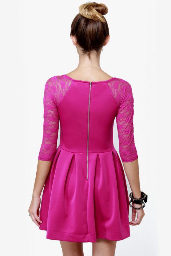 Land of the Laced Fuchsia Dress