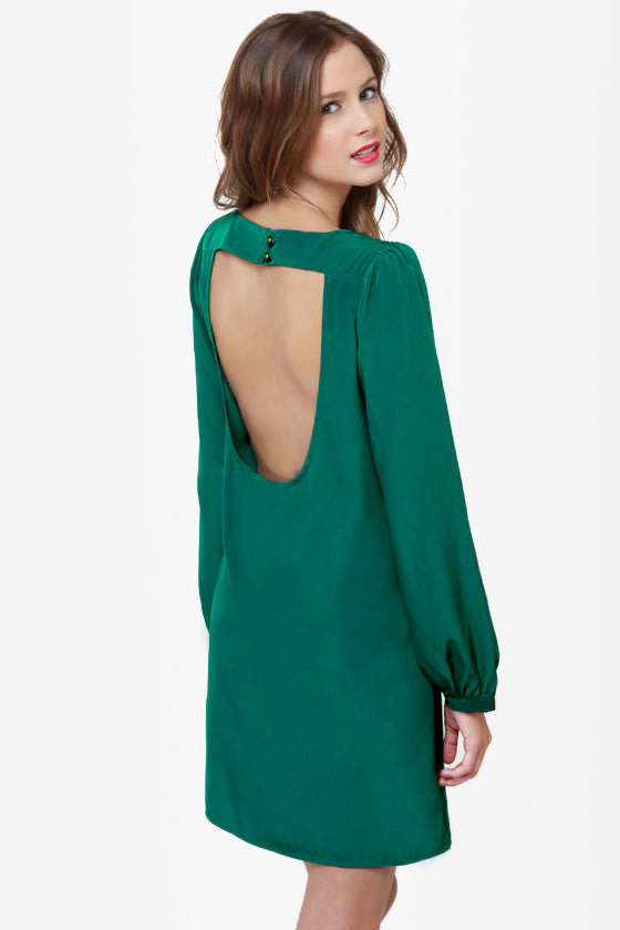 Set the Stage Backless Jungle Green Dress at Lulus.com!