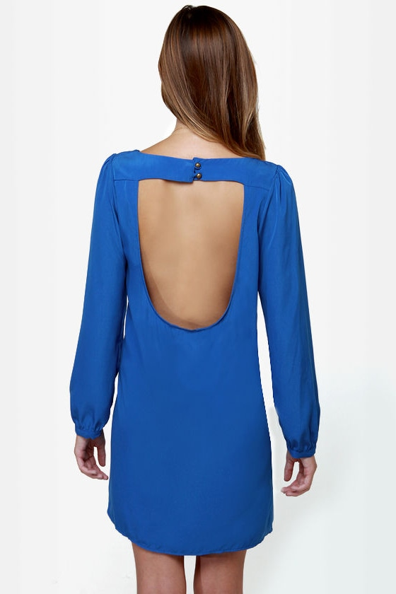 Set the Stage Backless Royal Blue Dress