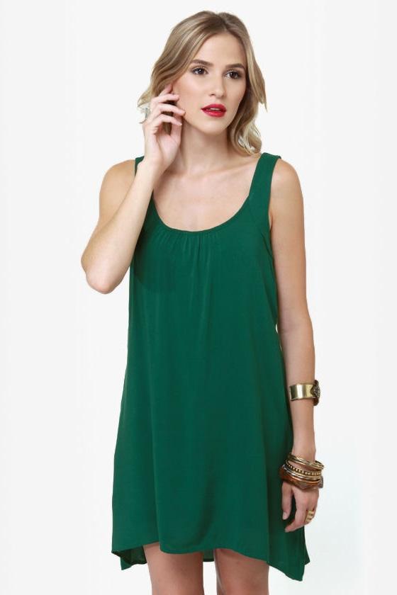 41cfc6fa4012cc Cute Green Dress - Shift Dress - Sleeveless Dress - High-Low Dress -  38.00