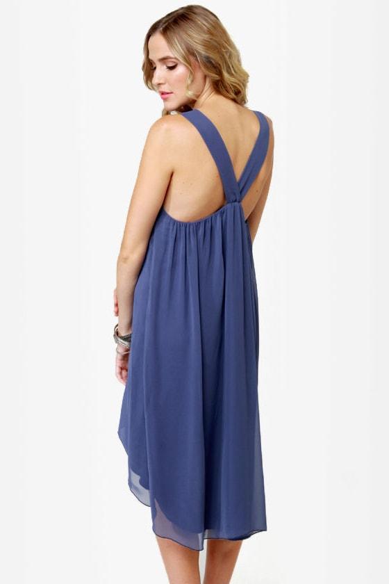 Bead You Now Beaded Slate Blue Dress