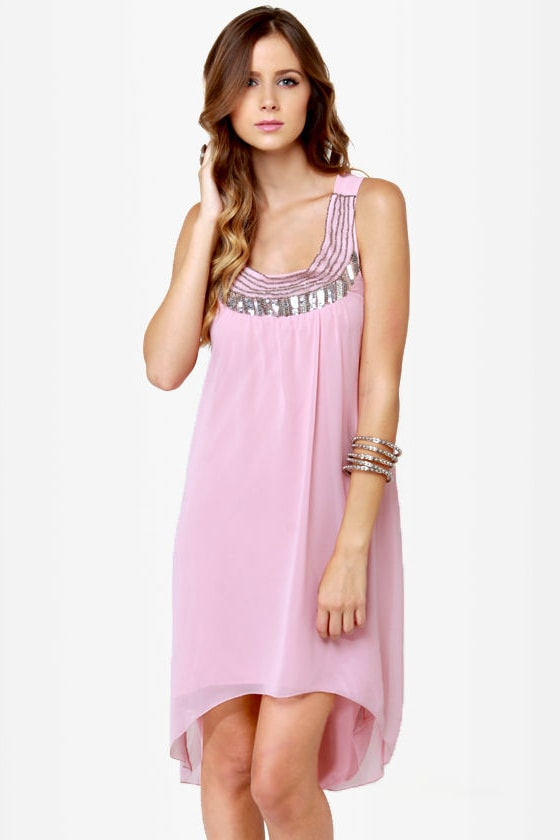 Bead You Now Beaded Blush Pink Dress