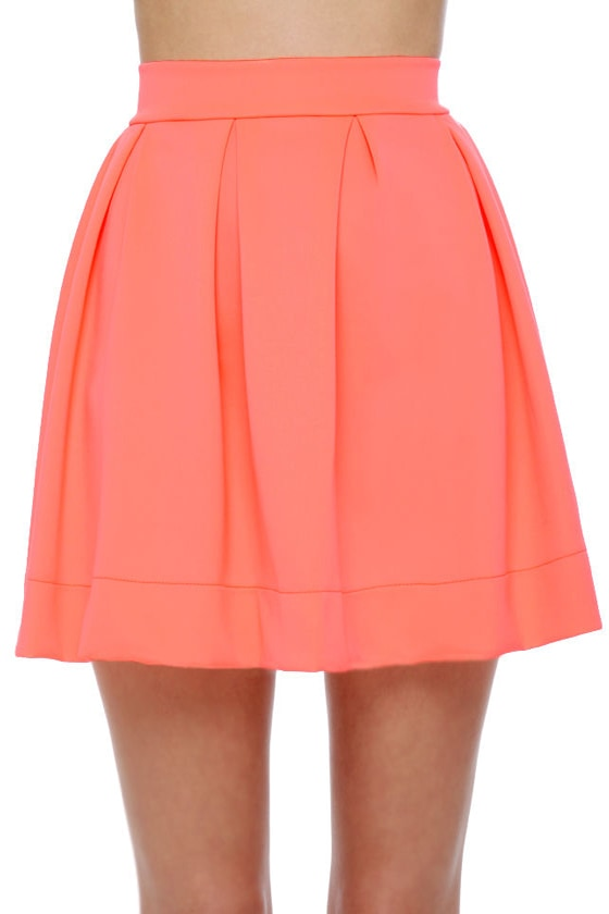 Everything Illuminated Neon Coral Skirt at Lulus.com!